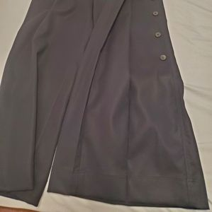Wide Leg Pants with Adjustable Side Buttons